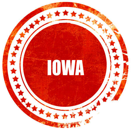 iowa: iowa, isolated red rubber stamp on a solid white background