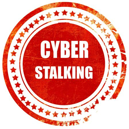 stalking: Cyber stalking background with some smooth lines, isolated red rubber stamp on a solid white background