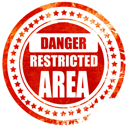 strangers: Restricted area sign with some smooth lines, isolated red rubber stamp on a solid white background