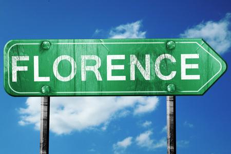 florence: Florence road sign, on a blue sky background