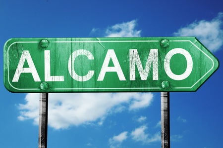 Alcamo road sign, on a blue sky background