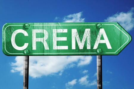 crema: Crema road sign, on a blue sky background