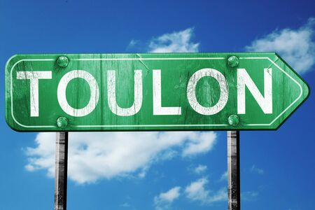 toulon: toulon road sign, on a blue sky background Stock Photo