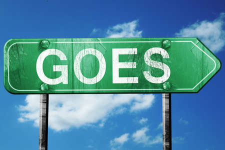 goes: Goes road sign, on a blue sky background Stock Photo