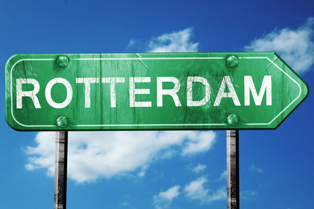 rotterdam: Rotterdam road sign, on a blue sky background