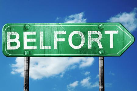 belfort: belfort road sign, on a blue sky background Stock Photo