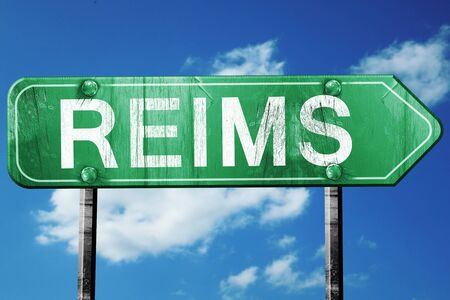 reims: reims road sign, on a blue sky background