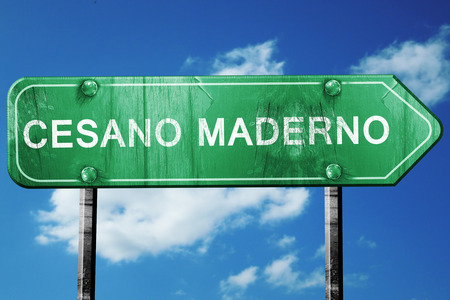 maderno: Cesano maderno road sign, on a blue sky background Stock Photo