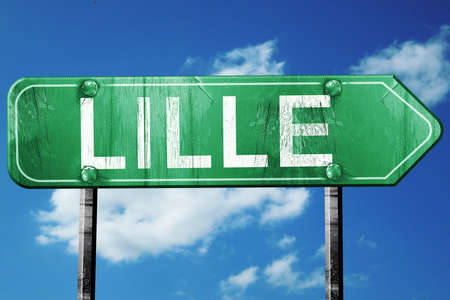 lille: lille road sign, on a blue sky background