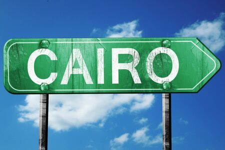 cairo: cairo road sign, on a blue sky background