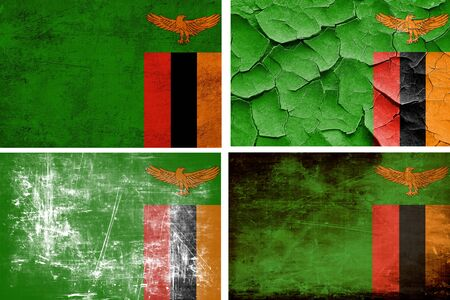 zambia flag: Zambia flag collection on a solid white background