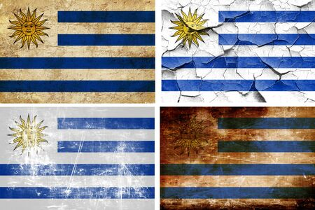 bandera de uruguay: colección de la bandera de Uruguay sobre un fondo blanco sólido