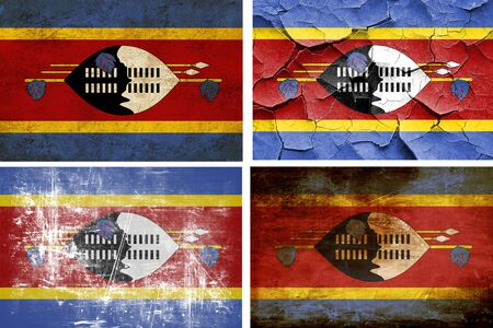 swaziland: Swaziland flag collection on a solid white background