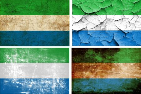 leone: Sierra Leone flag collection on a solid white background