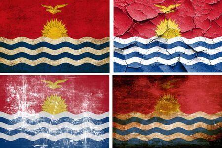 kiribati: Kiribati flag collection on a solid white background Stock Photo