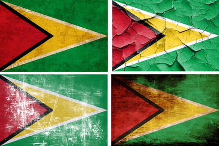 guyana: Guyana flag collection on a solid white background Stock Photo