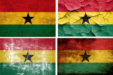 ghanese: Ghana flag collection on a solid white background