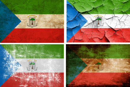 equatorial: Equatorial guinea flag collection on a solid white background Stock Photo