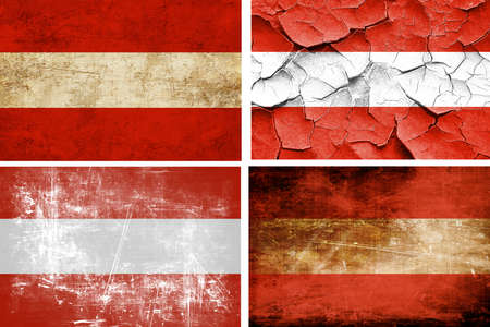 austrian: Austrian flag collection on a solid white background