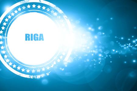 riga: Glittering blue stamp: riga Stock Photo