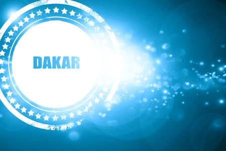 dakar: Glittering blue stamp: dakar