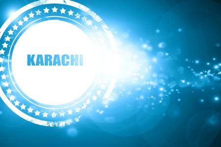 karachi: Glittering blue stamp: karachi