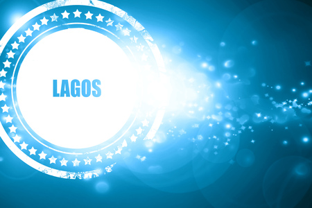lagos: Glittering blue stamp: lagos Stock Photo