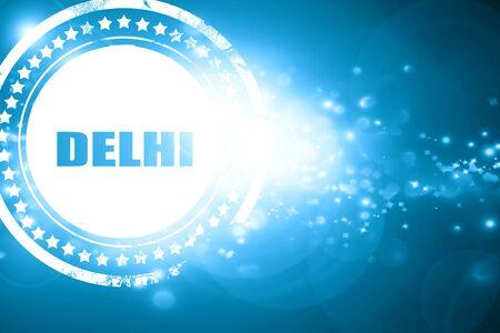 custom letters: Glittering blue stamp: delhi Stock Photo