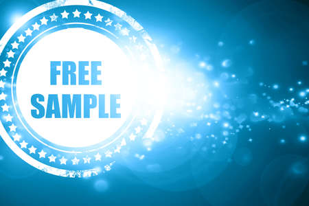 free sample: Glittering blue stamp: free sample sign with some soft smooth lines
