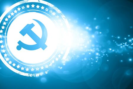 communism: Glittering blue stamp: Communist sign with red and yellow vivid colors Stock Photo