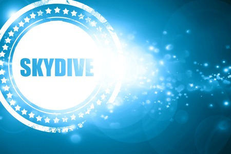 skydive: Glittering blue stamp: skydive sign background with some soft smooth lines Stock Photo
