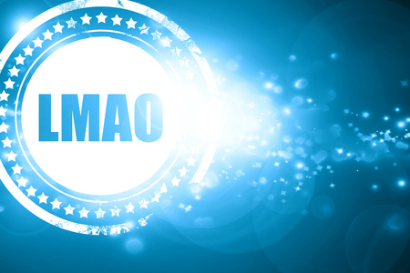 Glittering blue stamp: lmao internet slang with some soft smooth lines