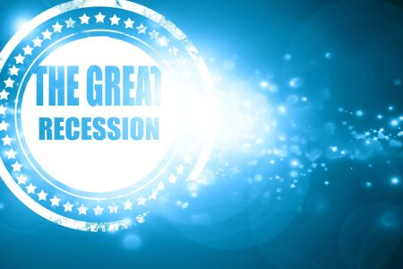 recession: Glittering blue stamp: Recession sign background with some smooth lines