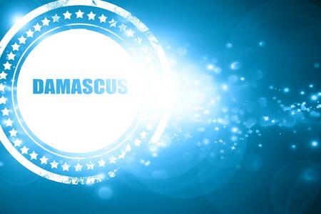 damascus: Glittering blue stamp: damascus Stock Photo