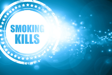 killing cancer: Glittering blue stamp: smoking kills Stock Photo