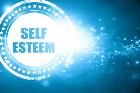 self worth: Glittering blue stamp: self esteem