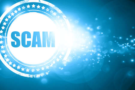 scamming: Glittering blue stamp: scam