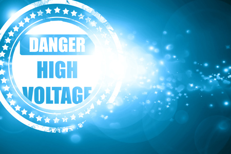 high voltage sign: Glittering blue stamp: high voltage sign with some soft smooth lines Stock Photo