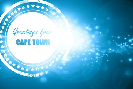 cape town: Glittering blue stamp: Greetings from cape town with some smooth lines Stock Photo