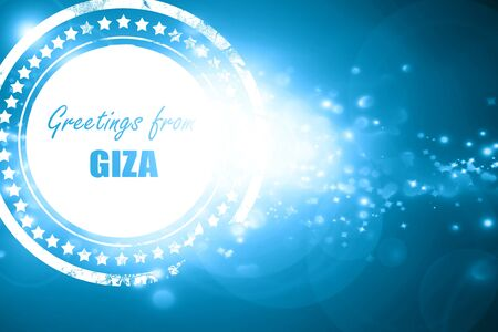giza: Glittering blue stamp: Greetings from giza  with some soft smooth lines Stock Photo