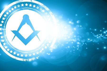 masonic: Glittering blue stamp: Masonic freemasonry symbol with some soft smooth lines Stock Photo