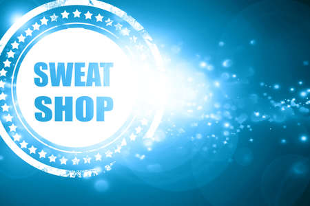 sweat: Glittering blue stamp: Sweat shop background with some smooth lines Stock Photo