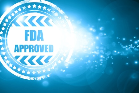 sanctioned: Glittering blue stamp: FDA approved background with some smooth lines Stock Photo