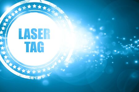 laser tag: Glittering blue stamp: laser tag sign background with some soft smooth lines Stock Photo