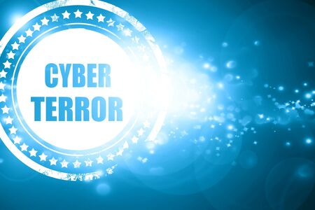 terror: Glittering blue stamp: Cyber terror background with some smooth lines
