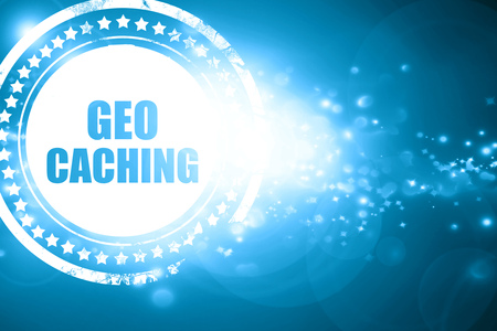 caching: Glittering blue stamp: geocaching sign background with some soft smooth lines