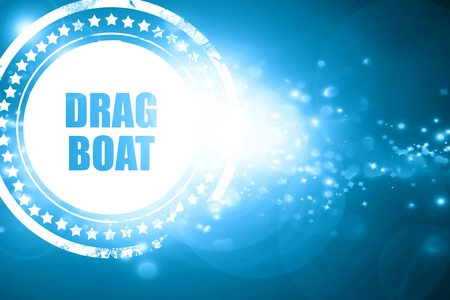 drag: Glittering blue stamp: drag boat sign with some soft smooth lines