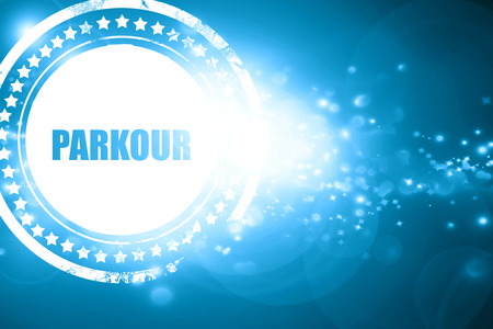 parkour: Glittering blue stamp: parkour sign background with some soft smooth lines