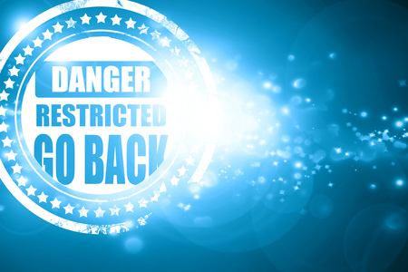 warning back: Glittering blue stamp: Go back sign with some smooth lines Stock Photo