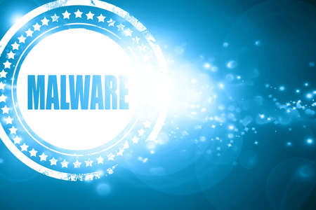 malware: Glittering blue stamp: Malware removal background with some soft smooth lines